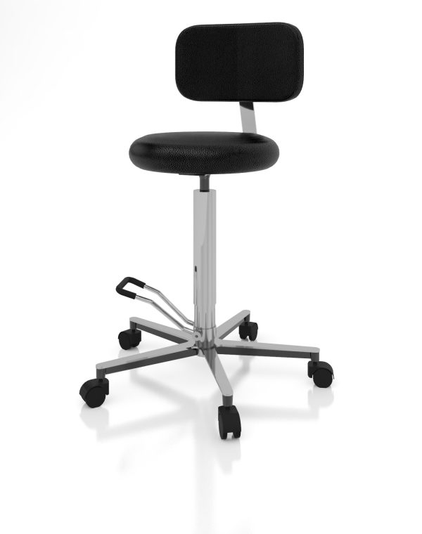 Examination room stool art 108328 with round seat and backrest