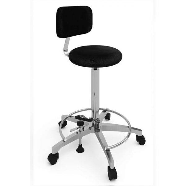 Surgical chair with round seat art 108316. Backrest, hydraulic pump lift system