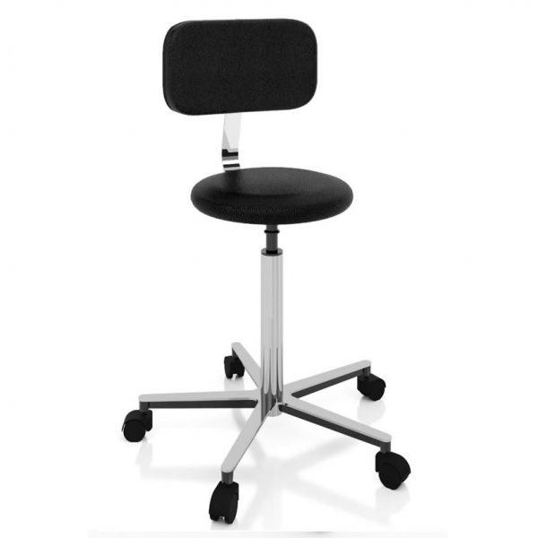 Examination room stool screw elevation art 108321, round seat and backrest