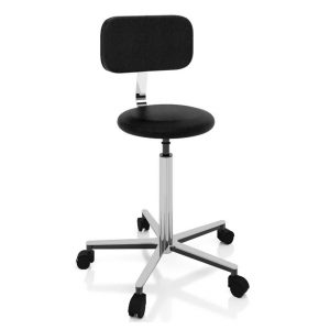 Examination room stool with backrest art 108325, with round seat and gas spring elevation